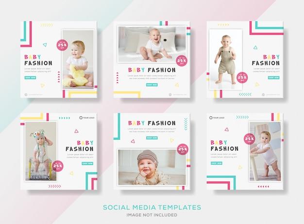 Ustaw szablon postu na baner dla uroczej mody dla niemowląt.