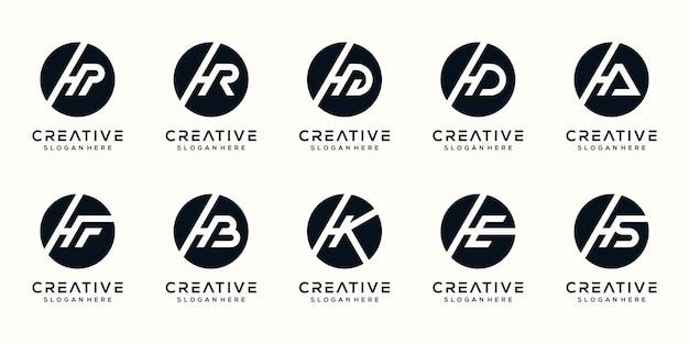 Ustaw szablon projektu logo litera h kolekcji