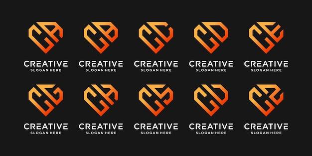 Ustaw Szablon Projektu Logo Monogram Pakietu Początkowa Litera C W Połączeniu Z Innymi. Ikony Dla Firmowych I Osobistych Premium Wektorów