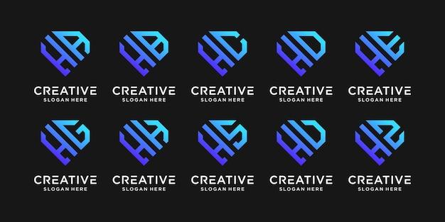 Ustaw szablon projektu logo monogram pakietu początkowa litera h w połączeniu z innymi. ikony dla firmowych i osobistych