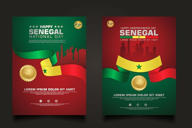 Ustaw szablon szczęśliwego dnia republiki senegalu z elegancką flagą w kształcie wstążki