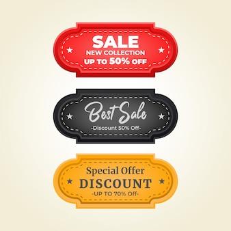 Ustaw szablon tagu sprzedaży odznak. przywieszka do sprzedaży 3d w trzech kolorach: czerwonym, czarnym i żółtym