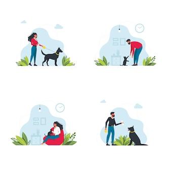Ustaw szablon właścicieli zwierząt domowych. szczęśliwi ludzie bawiący się ze swoimi scenami ze zwierzętami domowymi. młodzi ludzie spędzają czas w domu. postacie spacerujące z psami, relaksujące z kotami. ilustracja wektorowa