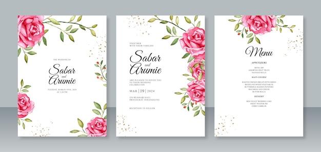 Ustaw szablon zaproszenia ślubne karty z różami akwarela malarstwo