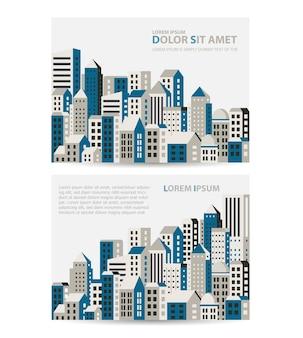 Ustaw szablon zaproszenia, wizytówki, ulotki na temat miejski. nadaje się dla agencji nieruchomości oraz firm budowlanych i turystycznych.