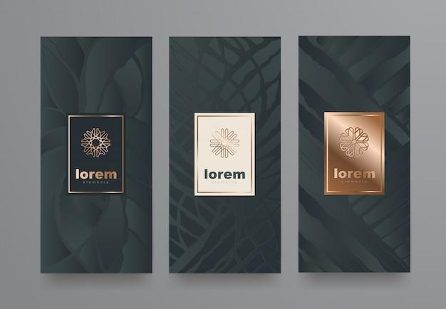 Ustaw szablony etykiet o różnej teksturze dla produktów luksusowych.