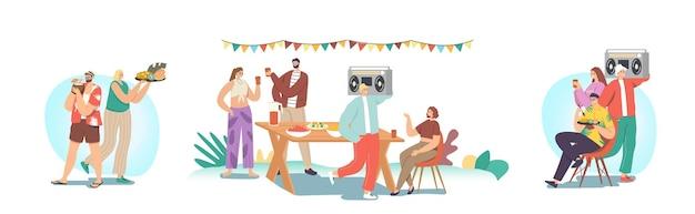 Ustaw szczęśliwą rodzinę lub przyjaciół świętuj przyjęcie w ogrodzie. postacie męskie lub żeńskie siedzą przy stole, jedzą i komunikują się, radośni ludzie na dziedzińcu domu. letnie wakacje relaks. ilustracja kreskówka wektor