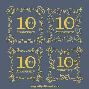 Ustaw szczęśliwe kartki rocznicowe z ornamentami w złotym stylu