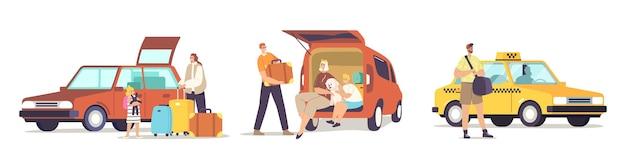 Ustaw szczęśliwe postacie gotowe do pracy. rodzina siedząca przy bagażniku samochodowym przygotuj się do podróży. człowiek zamówienie taksówki. matka, ojciec i dzieci z bagażem wyjeżdżają z domu w podróż. ilustracja wektorowa kreskówka ludzie