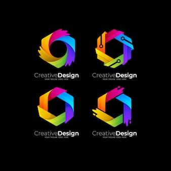Ustaw sześciokątne logo z kolorowym szablonem ikon, kolorowe 3d