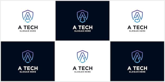 Ustaw technologię creative shield ochrona logo litery a.