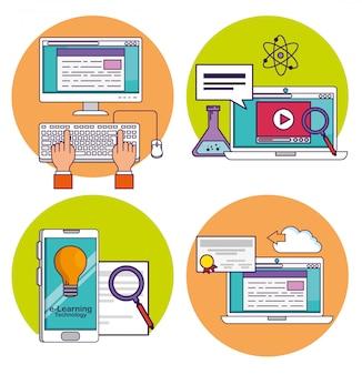 Ustaw technologię komputera i smartfona z dokumentem edukacyjnym