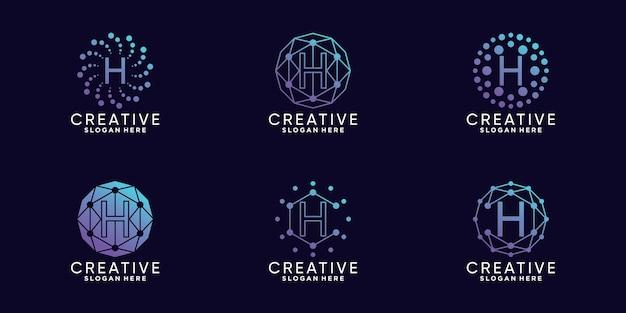 Ustaw technologię projektowania logo monogramu pakietu początkową literę hw stylu liniowym i kropkowym premium wektor
