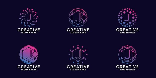 Ustaw technologię projektowania logo monogramu w pakiecie początkowa litera j w stylu liniowym i kropkowym premium wektor