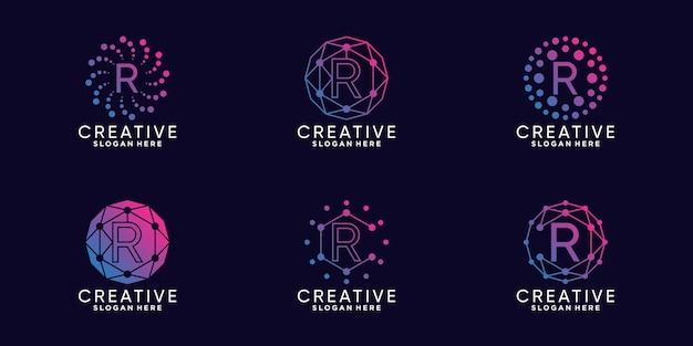 Ustaw technologię projektowania logo monogramu w pakiecie początkowa litera r w stylu liniowym i kropkowym premium wektor