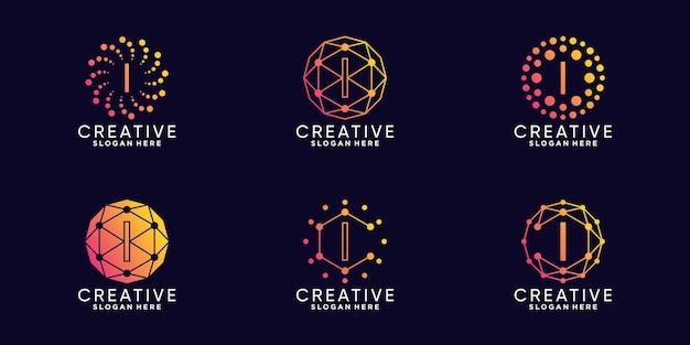 Ustaw technologię projektowania logo monogramu w pakiecie początkową literę i w stylu liniowym i kropkowym premium wektor
