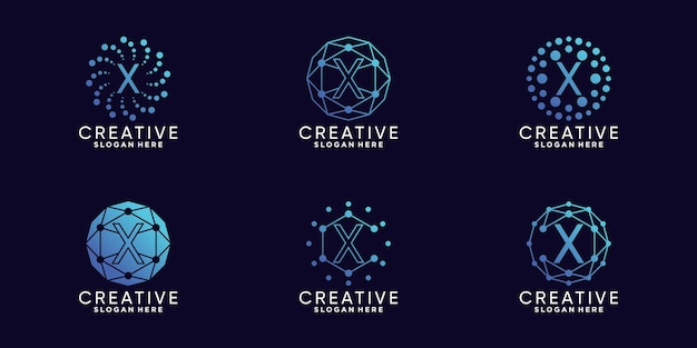 Ustaw technologię projektowania logo monogramu w pakiecie początkową literę x w stylu liniowym i kropkowym premium wektor