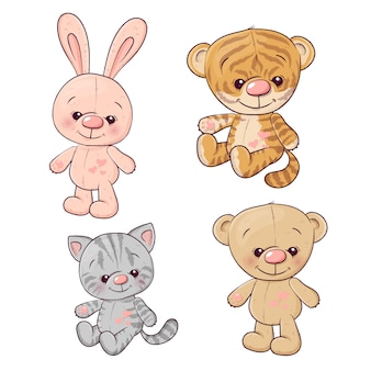 Ustaw teddy cub kitten teddy bear hare.