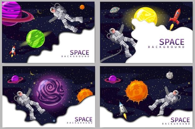Ustaw tła karty kosmicznej z kosmonautą, rakietą, ufo, słońcem, gwiazdami.