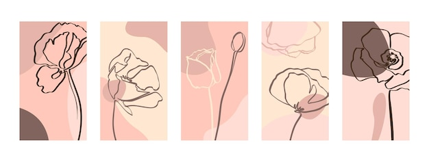 Ustaw tła z jednym wierszem kwiatów maku. abstrakcyjne tapety na telefon komórkowy w minimalistycznych, modnych szablonach do historii w mediach społecznościowych. ilustracja wektorowa w pastelowym kolorze różowym