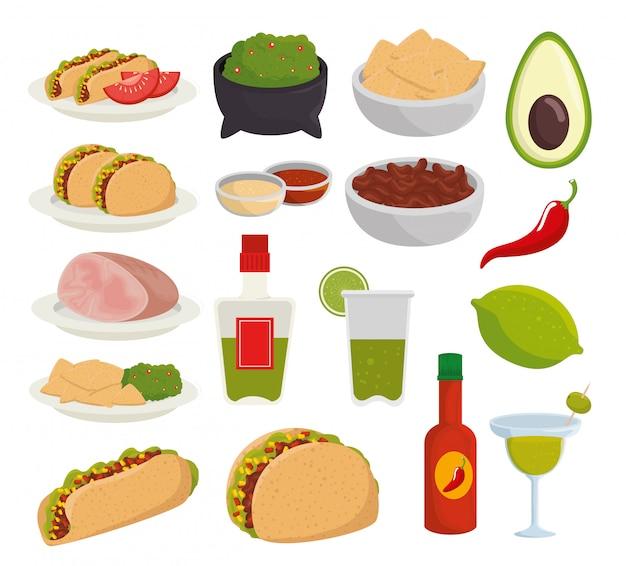 Ustaw tradycyjne meksykańskie jedzenie na uroczystość