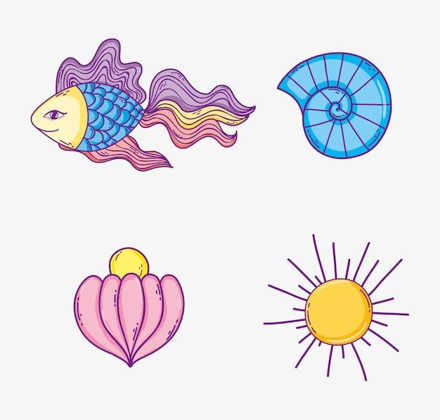 Ustaw tropikalne zwierzęta morskie i słońce