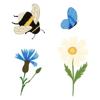 Ustaw trzmiel, motyl i kwiaty na białym tle. streszczenie botaniczny rumianek i chaber z niebieskim motylem i trzmielem w stylu bazgroły.