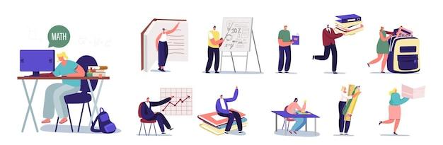 Ustaw uczenie się postaci męskich i żeńskich. mężczyźni i kobiety odrabiania lekcji siedząc przy biurku, studium na uniwersytecie lub w szkole, przygotuj się do egzaminu na białym tle. ilustracja wektorowa kreskówka ludzie