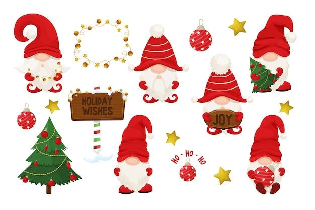 Ustaw uroczy świąteczny gnom elf w czerwonym kapeluszu w stylu kreskówki nowy rok powitanie charakter