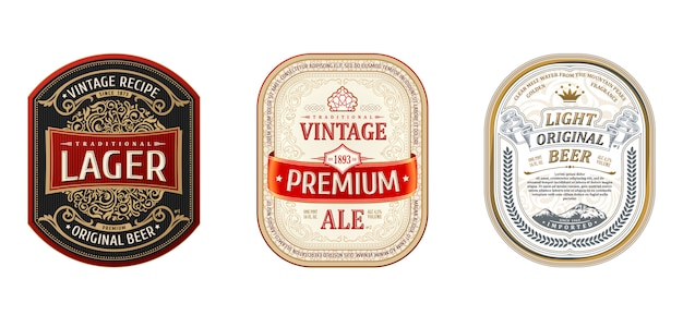 Ustaw vintage ramki na etykiety piwa