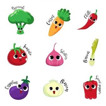 Ustaw warzywa postaci z kreskówek ze szczęśliwym nastrojem