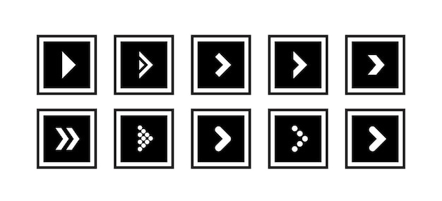 Ustaw wektor ikony czarnej strzałki w kształcie kwadratu
