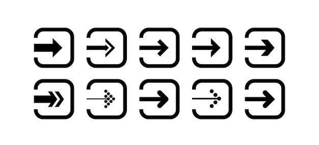 Ustaw wektor ikony czarnej strzałki w kształcie zaokrąglonego kwadratu
