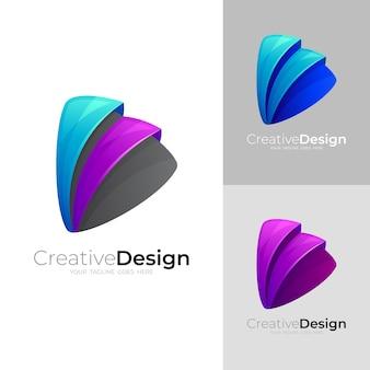 Ustaw wektor ikony odtwarzania, technologia logo play