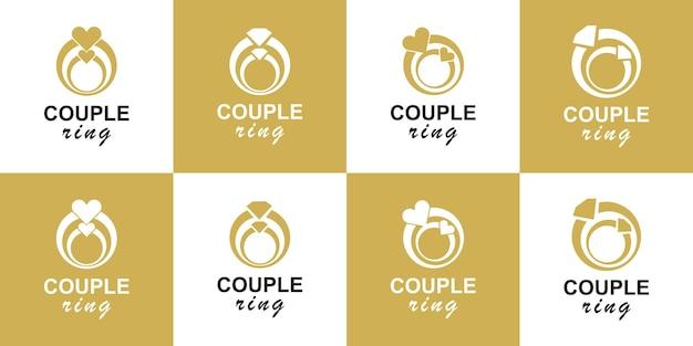 Ustaw wektor projektowania logo dla pary pierścionków