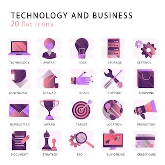 Ustaw wektorowe ikony z elementami dla mobilnych koncepcji i aplikacji internetowych