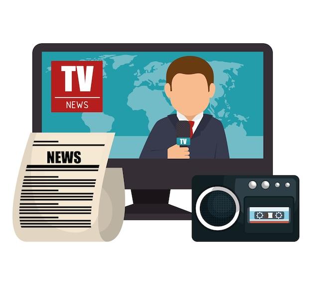 Ustaw wiadomość tv mikrofon papier graficzny na białym tle
