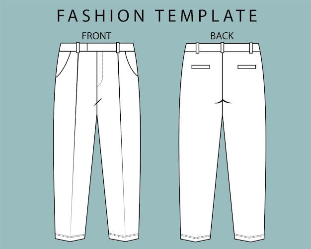 Ustaw widok spodni z przodu iz tyłu. pant moda płaskie szkice szablon.