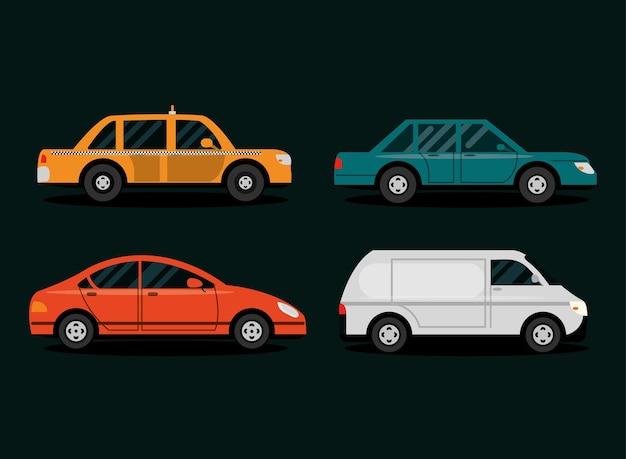 Ustaw widok z boku samochodów, różne samochody w stylu cartoon, ilustracja transportu miejskiego
