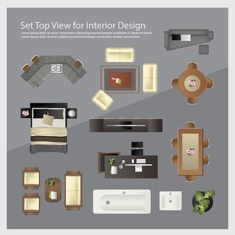 Ustaw widok z góry do projektowania wnętrz. ilustracja na białym tle
