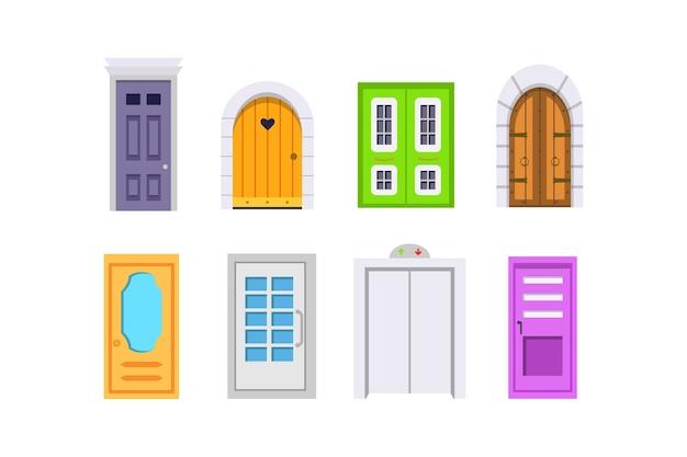 Ustaw widok z przodu drzwi wejściowych. elementy domów i budynków.