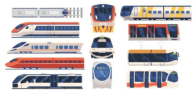 Ustaw widok z przodu i z boku pociągu, tramwaju i metra, współczesny projekt miejskiego pojazdu kolejowego . pociąg miejski ekspresowy, transport, lokomotywa metra, nowoczesny podmiejski. ilustracja wektorowa kreskówka na białym tle