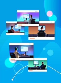 Ustaw wirtualnych graczy grających w gry wideo online na komputerach koncepcja turnieju e-sportowego faceci w słuchawkach siedzących przed monitorami portret pionowa ilustracja wektorowa