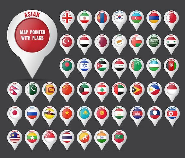 Ustaw wskaźnik na mapie z flagą krajów azji i ich nazwami.