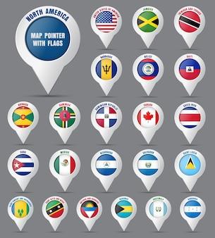 Ustaw wskaźnik na mapie z flagami krajów ameryki północnej i ich nazwami.