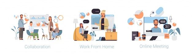 Ustaw współpracę w pracy z domowego spotkania online coronavirus kolekcja pandemicznych pojęć kwarantanny