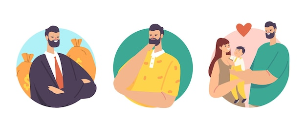 Ustaw wybór mężczyzn. męska postać wybierz między karierą a rodziną. biznesmen z workami pieniędzy, ojciec z dzieckiem i żoną. równowaga pracy i relacji. ilustracja kreskówka wektor, okrągłe ikony