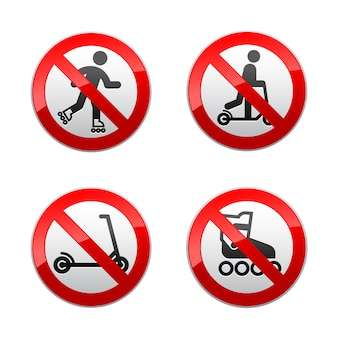 Ustaw zabronione znaki - hulajnoga, rolki