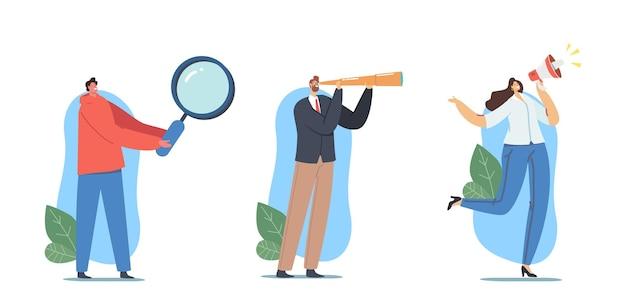 Ustaw zatrudnianie, rekrutacja, koncepcja polowania na głowę. hr agent postacie ze szkłem i głośnikiem szukaj pracowników do pracy. zasobów ludzkich, prezentacja zatrudnienia. ilustracja wektorowa kreskówka ludzie