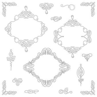 Ustaw zbiór wektorów kaligraficznych elementów